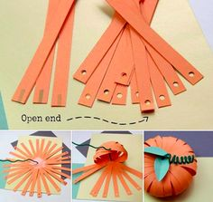 Make a paper pumpkin Dulceros Halloween, Halloween Arts And Crafts, Adornos Halloween, Manualidades Halloween, Halloween Decorations, Pumpkin Crafts, Paper Pumpkin, Autumn Crafts, Holiday Crafts