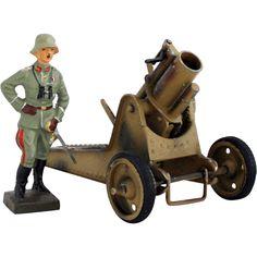 1930s Gescha Vintage German Heavy Mortar Toy