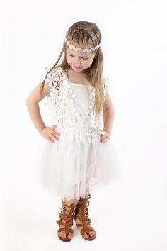 White Crochet Flower Dress for girls - toddler dress - easter girl dress - birthday dress