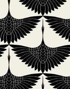 Carrie Hansen Swan Textile Design- I actually love this as a tattoo idea, just one bird between shoulder blades. Carrie Hansen Swan Textile Design- I actually love this as a tattoo idea, just one bird between shoulder blades. Motifs Textiles, Textile Prints, Textile Patterns, Textile Pattern Design, Surface Pattern Design, Boho Pattern, Pattern Art, Black Pattern, Pattern Flower