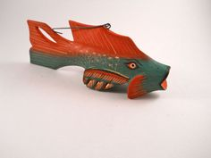 Salmon Wood Fish Ornament with Red Green by MissPattisAttic, $6.50