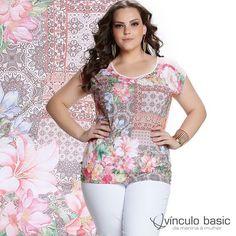 Para as românticas de plantão: estampa floral super moderna para se apaixonar já! 🌸❤  http://www.vinculobasic.com.br/ #vinculobasic #primavera #verao #plussize
