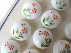 Vintage Buttons Glass Painted Flowers White by BumbershootSupplies, $7.75