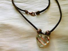 Brown Leather necklace with glass heart and copper beads
