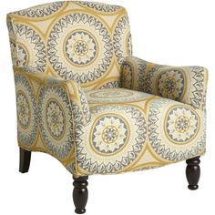 Pier 1 Imports Frankie Suzani Armchair ($450) ❤ liked on Polyvore featuring home, furniture, chairs, accent chairs, chair, patterned chair, patterned armchair, colored furniture, patterned accent chairs and pier 1 imports