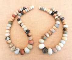OOAK Boho Beach Stone Graduated Strands Of by HammeredEdgeStudio