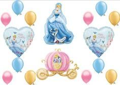 "Cinderella Disney Princess Birthday Balloon Decorations Supplies 16 piece set by Anagram. $19.95. 1 (one) 34"" Cinderella in her blue gown mylar shape balloon 1 (one) 33"" Cinderella Carriage Mylar shape balloon 2 (two) 18"" Cinderella Happy Birthday heart shape mylar balloons 12 (twelve) 11"" Coordinating Latex balloons, 4 of each color..pink, blue and metallic gold. These BEAUTIFUL balloons are sure to be a hit at your party! AND MY SPECIAL FREEBIE ""T..."