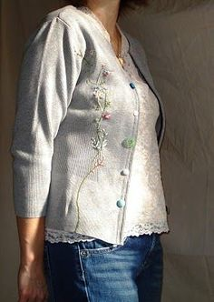 Re-fashion: Pull-over sweater to cardigan {note: click on the words 'this tutorial' in first sentence in the My Two Butterflies blog for link to instructions}