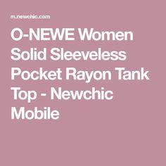 O-NEWE Women Solid Sleeveless Pocket Rayon Tank Top - Newchic Mobile