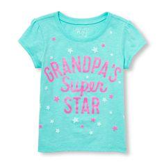 Toddler Girls Short Sleeve Glitter 'Grandpa's Super Star' Graphic Tee