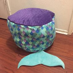 This is a super fun and comfy toy storage bag that doubles as a ba. This is a super fun and comfy toy storage bag that doubles as a bag bag chair/ottoman Mermaid Room Decor, Mermaid Bedroom, Unicorn Bedroom, Mermaid Nursery Theme, Mermaid Bedding, Ocean Bedroom, Kids Bedroom, Bedroom Ideas, Mermaid Toys