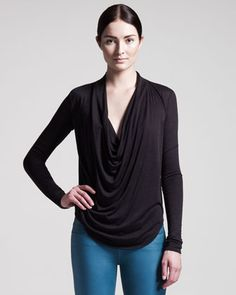 Kinetic Draped Long-Sleeve Top by HELMUT at Bergdorf Goodman.
