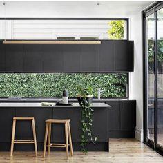 black kitchen, window splashback and window above overhead cabinetry Black Kitchens, Cool Kitchens, Kitchen Black, Charcoal Kitchen, Luxury Kitchens, Kitchen Living, New Kitchen, Asian Kitchen, Long Kitchen