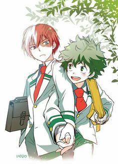 Shouto, Izuku, yaoi, holding hands, uniforms, outfits, school, cute; My Hero Academia