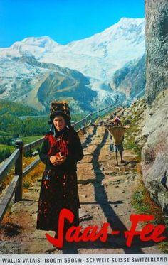 Saas Fee 1800 m 5904 ft (Wallis Valais Schweiz Suisse Switzerland) - Affiche originale (ca Travel Ads, Travel Images, Travel And Tourism, Saas Fee, Tourism Poster, Poster Ads, Vintage Ski, Vintage Travel Posters, Lausanne