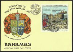 Bahamas First Day Cover Scott #667 (25 Jan 1989) Souvenir Sheet showing Caravel under construction (from the 15th Century Nuremburg Chronicles). Coat of Arms of Christopher Columbus (Cristóbal Colón) as cover cachet and ship pictorial cancellation.