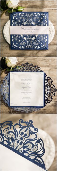 navy blue laser cut wedding invitation with blush pink belly band EWWS118