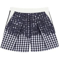 MSGM Navy Gingham Cotton Blend Shorts ($175) ❤ liked on Polyvore featuring shorts, pants, high rise shorts, navy blue shorts, pocket shorts, msgm and navy blue high waisted shorts