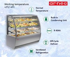 Sweet Global Display Cabinet With Ventilated Refrigeration Is Designed For  The Display Of Pastries, Cakes