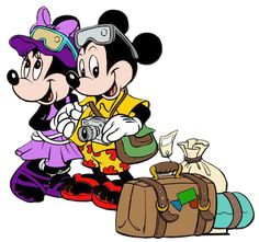 Mickey and Minnie travel clipart