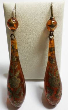 Antique Vintage Victorian Amber Style Drop Earrings with Floral Pique Inlay Jewellery