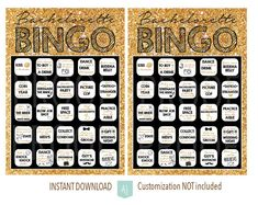 Bachelorette Party BINGO Game-Bridal Shower Game- Hens Party-Customization NOT included- Gold Glitter and Black Style Only