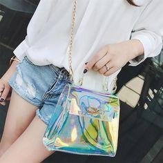 Come And See Me Satchel - Women's Fashion Handbag Shoulder Hobo Crossbody Bag Tote Messenger Satchel Purse - shopdevi Clear Handbags, Handbags On Sale, Hobo Crossbody Bag, Satchel Purse, Cute Purses, Purses And Bags, Holographic Purse, Jelly Bag, Transparent Bag