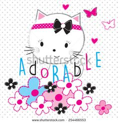 adorable cat with flowers vector illustration