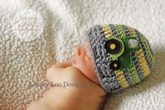 Newborn Photo Prop Crochet Tractor Hat Crochet by LooptyLooDesigns Baby Boy Beanies, Boys Beanie, Crochet Hats For Boys, Crochet Baby Hats, Kids Crochet, Crocheted Hats, Knitted Hat, Newborn Baby Photos, Newborn Photo Props