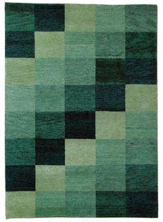 Tapis vert BAKU BOX  en laine de la collection Unamourdetapis