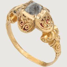RENAISSANCE OCTAHEDRAL DIAMOND RING. Western European, mid- to late 16th century. Gold, enamel and diamond.