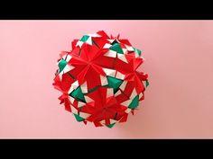 Origami Kusudama pomegranate 30units instructions折り紙 くす玉 ザクロ 折り方 - YouTube