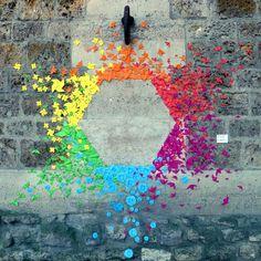 "Hexagon Rainbow | street art by French artist ""Mademoiselle Maurice"" | Loation: Paris, France (?)"