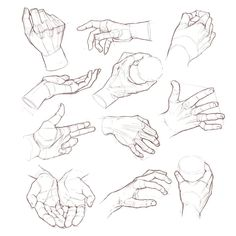 Hand studies. Drawings from photos.