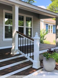 Ranch Home Remodel DIY Front Porch Steps and Railing Redocountryliving.Ranch Home Remodel DIY Front Porch Steps and Railing Redocountryliving Front Porch Railings, Front Porch Steps, Farmhouse Front Porches, Front Porch Design, Front Porch Pergola, Front Entry, Pergola Kits, Front Porch Deck, Front Porch Remodel