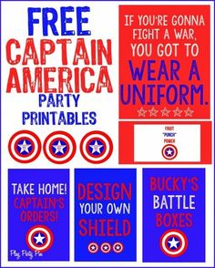Free Captain America party printables from playpartypin.com
