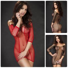 2015 Sexy Exotic Lingerie Dresses Fishnet Babydolls Chemises Sexy Costume Women Nightwear Black/Red Eshow Sexy Gifts Valentine's Day Wife Honeymoon