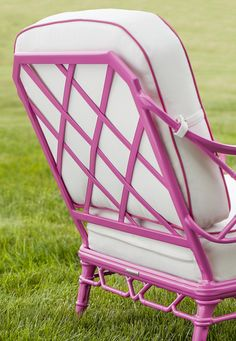 Inspired by the design themes of Chippendale furniture, Calcutta features cast bamboo patterns on the seat and back, while tapered legs and a lower x-stretcher continue the exotic bamboo pattern. Backyard Furniture, Outdoor Furniture, Brown Jordan, Pink Garden, Sunbrella Fabric, Private Garden, Outdoor Settings, Hot Pink, Patio Chairs