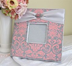 Pink and grey damask frame.