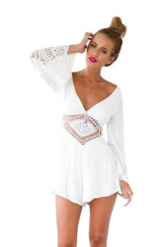 Lace Beach Playsuit With Batwing Sleeve - US$15.95 -YOINS