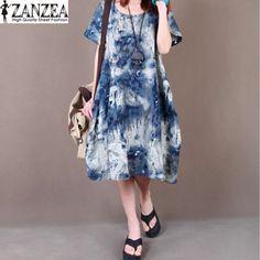 Plus ZANZEA Women Floral Printed Cotton Casual Loose Baggy Summer Autumn Ladies Short Sleeve Pockets Long Tops Shirt Dress #Affiliate