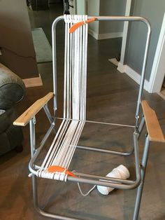 Upcycle an old lawn chair with bold macrame cording with this easy tutorial! It will become your favorite chair for long summer nights. Finally this tutorial… Metal Lawn Chairs, Deck Chairs, Dining Chairs, Office Chairs, Room Chairs, Folding Chairs, Adirondack Chairs, Garden Chairs, Farmhouse Shutters