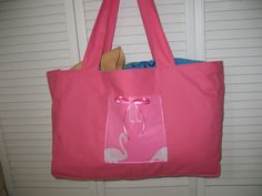 Shower Curtain Beach Bag  Pink Flamingos by GrayKittyBoutique, $30.00