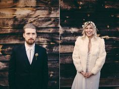 A #bride and #groom in front of a rustic wooden backdrop.