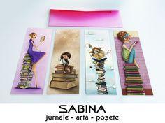 Set cu 4 semne de carte cu fete citind