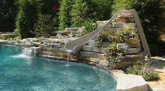 I absolutely LOVE swimming pools. Swimming Pool Slides, Swimming Pool Pictures, Swimming Pool House, Swimming Pool Designs, Outdoor Swimming Pool, Backyard Pools, Swimming Holes, Pool Spa, Fiberglass Pools