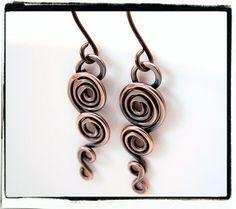 Copper Niobium Freeform Dangle Spiral Earrings