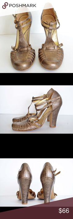 """Vince Camuto Strapy Sandals I call these the Vince Camuto """"Alligator Nose"""" sandals. Because the shape of the tips reminds me of an alligator nose. These are a chunky heel. Size 9B/39. Color is like a brushed bronze. 4 1/2 inch heel. Comes from a smoke free home and are ready to ship. Vince Camuto Shoes Sandals"""