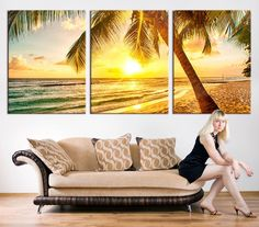 Large Art CANVAS PRINT - Palm and Beach Canvas Print, Palm on the Beach Wall Art Canvas Print