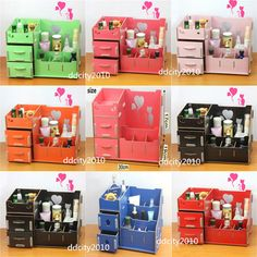 DIY Wooden storage box cosmetics Multifunctional Organizer makeup Cute Desk New